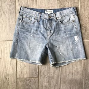Madewell distressed and paint splattered
